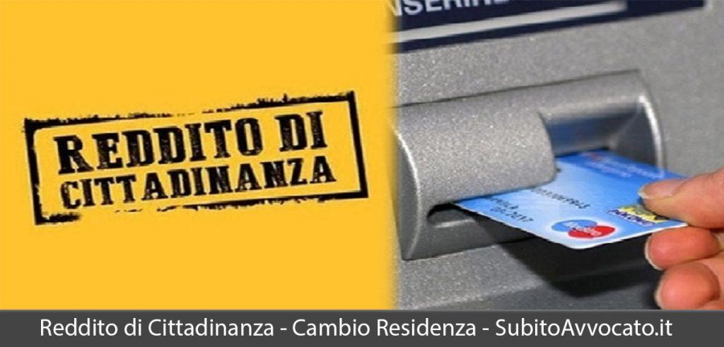 reddito di cittadinanza cambio residenza